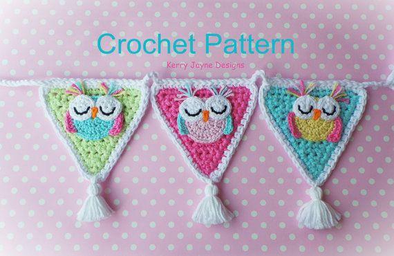 CROCHET APPLIQUE Bunting Garland Owl crochet by KerryJayneDesigns