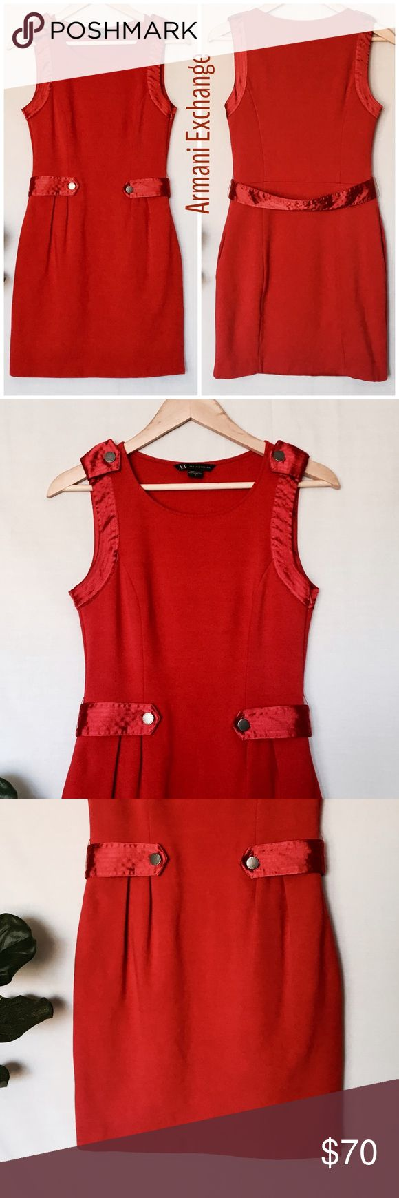 Armani Exchange Red Sheath Dress Size: 6 Armani Exchange Sheath Dress  Gorgeous A/X Red dress. Nice thick comfortable material. Soft. Buttons have logo. Removable belt. Hidden side zipper and pockets. Perfect for a wedding or nice dinner.  Material: 68% rayon 20% nylon 4% spandex.  *** Please note lining has been cut off but dress is thick so it's not see thru.   Measurements:  Underarm to underarm: 15 inches  waist: 26 inches Hip: 34 inches Length: 33 inches  Thank you for looking! Check…