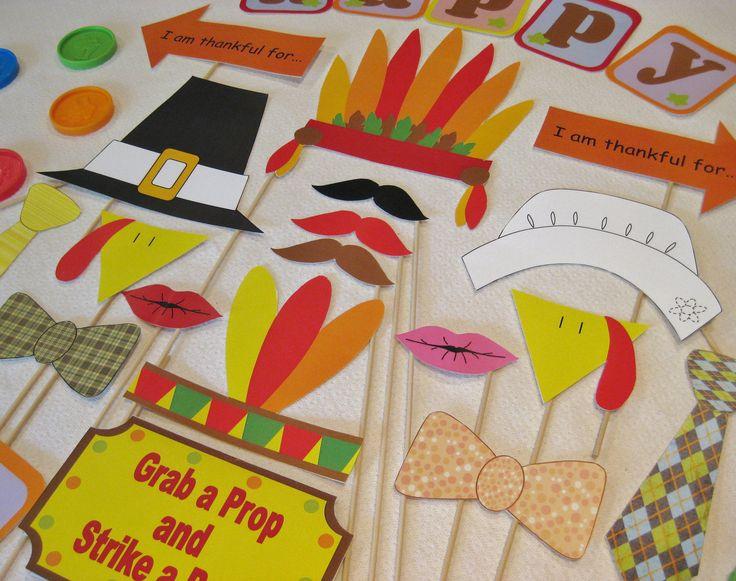 PDF - Thanksgiving photo booth props/decorations/craft - printable DIY. $3.95, via Etsy.