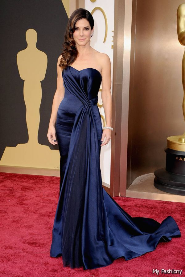 The great actress Sandra Bullock wore this midnight blue dress last year at the Oscars, when she was nominated for her role in Gravity. Description from pinterest.com. I searched for this on bing.com/images
