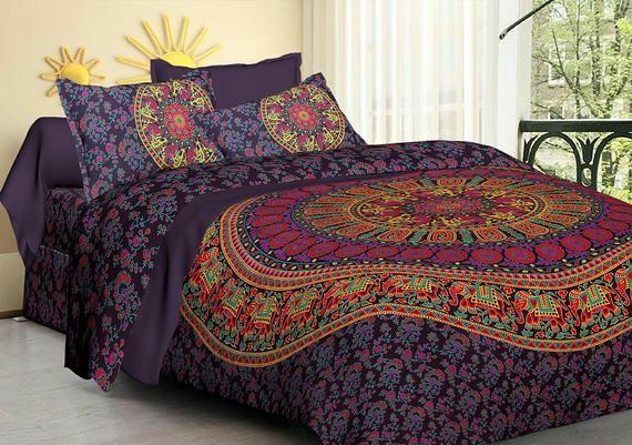 Indian Elephant Mandala Queen Size Bed Sheet Bedding Set Dorm Gypsy Blanket Boho