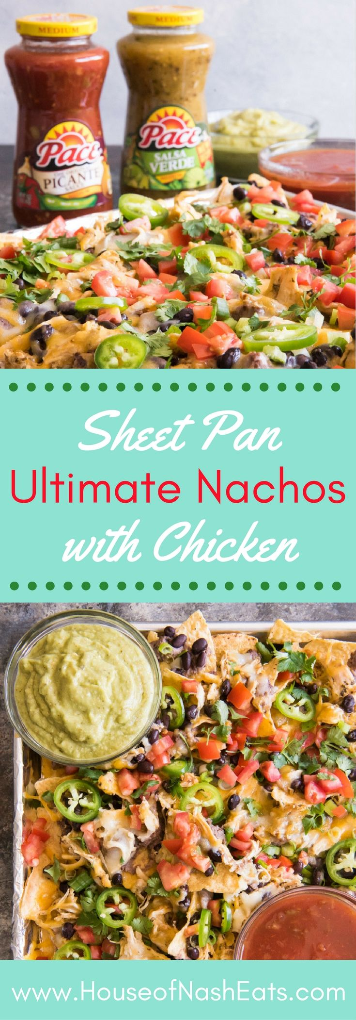 These Sheet Pan Ultimate Nachos with Slow Cooker Salsa Verde Ranch Chicken are the perfect Game Day food! Get everything you need at Walmart and serve them with not one, but TWO easy sauce options for dipping the cheesy, loaded nachos in before devouring! #MakeGameTimeSaucy #CollectiveBias #ad