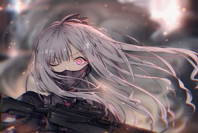 1748x1181 Girls Frontline Anime Games Long White Hair Mask Shocked Expression Original Resolution Anime Warrior Girl Anime Warrior Girls Frontline