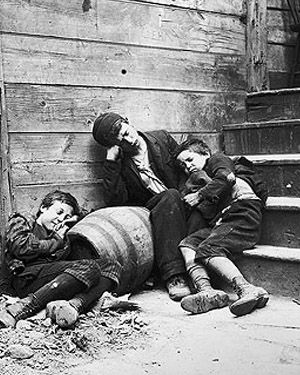 "Riis is considered one of the fathers of photography due to his very early adoption of flash in photography. In the late 19th century, progressive journalist Jacob Riis photographed urban life in order to build support for social reform. Photo of street children in ""sleeping quarters"""