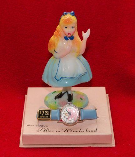 1960s Timex Walt Disney Alice in Wonderland Watch w/Figurine, Original Box!