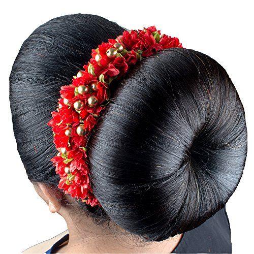 Majik-Bridal-Gajra-veni-Hair-Accessories-For-Bun-Decorations-Free-Hair-Donut-18-cm-Red
