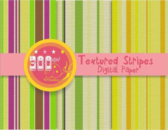 Striped digital paper textured stripe backgrounds by GemmedSnail, $1.20
