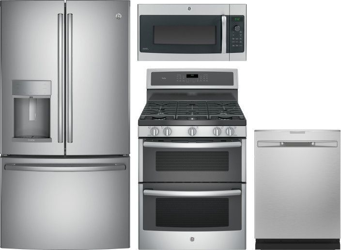 Ge Profile 4 Piece Kitchen Appliances Package With French Door Refrigerator Gas Range Dishwasher And Over The Range Microwave In Stainless Steel Stainless Ste Modern