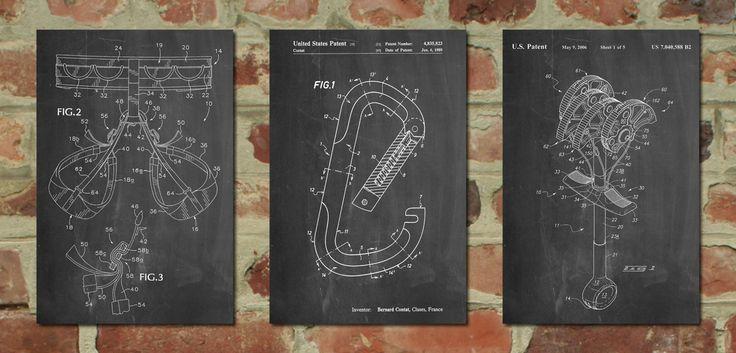 Rock climbing patent poster group of 3 climbing art outdoorsy outdoorsman gift climbing wall pp1168