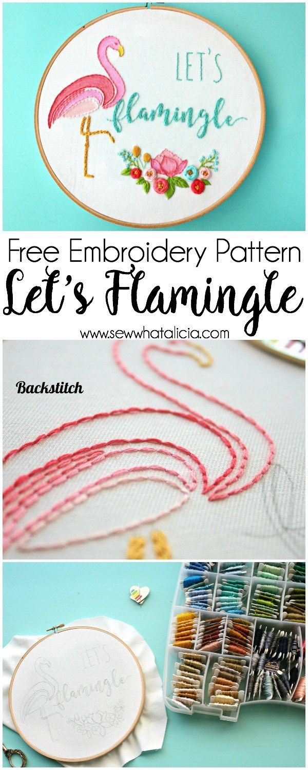 Embroidery How to with the Kitschy Stitcher: This is an amazing embroidery tutorial from the Kitschy Stitcher. Learn to make a cute flamingo pattern. Click through for the free pattern. #embroidery #embroiderallthethings #embroider | www.sewwhatalicia.com