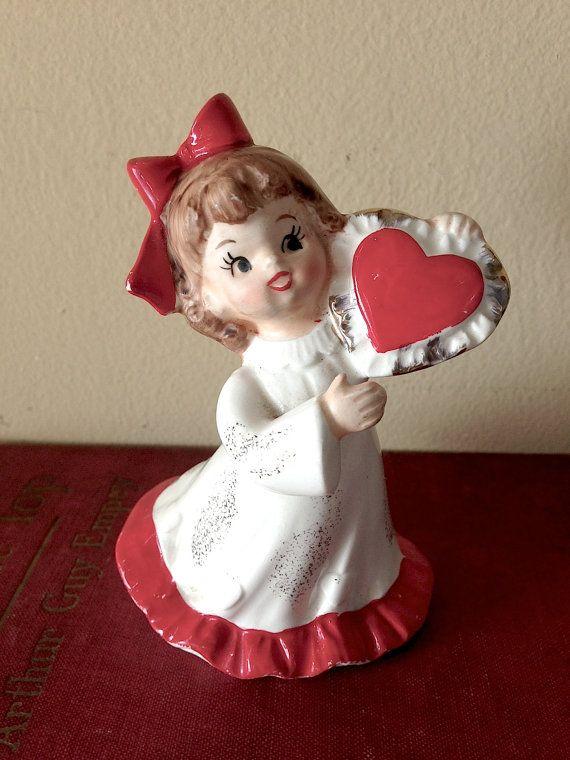 Lefton Valentine Girl Heart Figurine Vintage Porcelain 376 Seasonal Be My Valentine