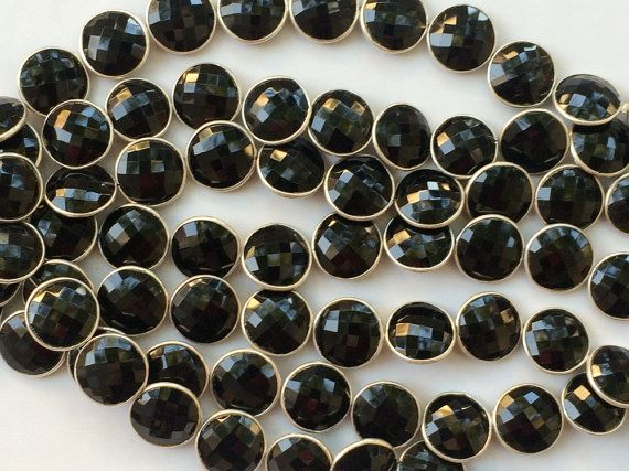 Black Onyx Round Faceted Bezel Connector Chain by gemsforjewels