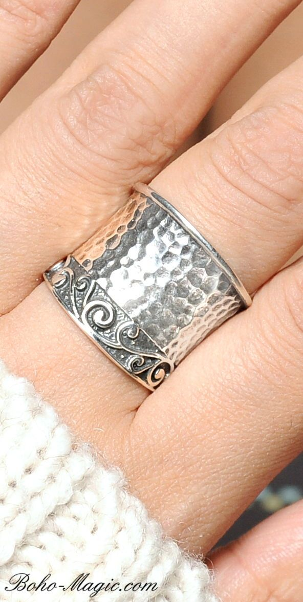 Hammered Wide Band Cuff Ring Sterling Silver Boho Chunky Rings