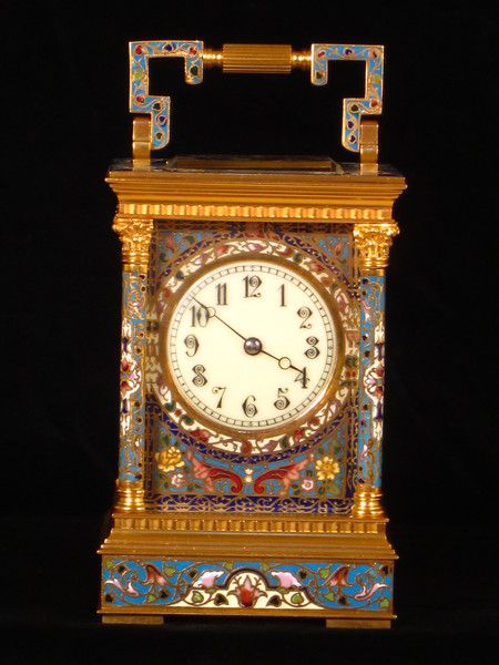 A fairly large Champleve enamel gong striking carriage clock. http://www.pinterest.com/cato1224/19th-century-carriage-clocks/