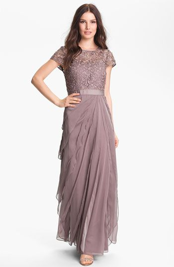 Both stylish and appropriate for any mother of the bride! - Adrianna Papell Layered Chiffon & Lace Gown
