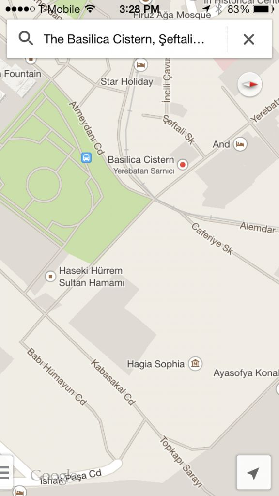 Map showing the location of the Basilica cistern in Istanbul