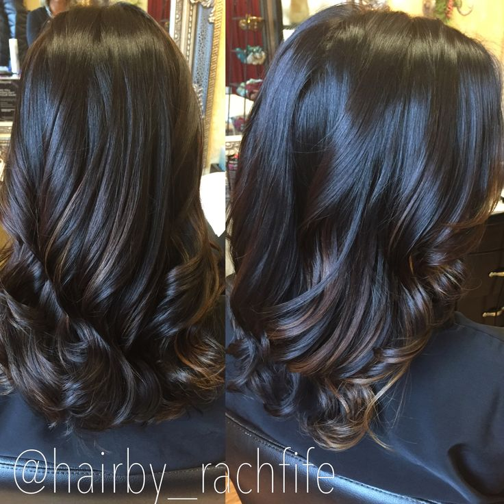 Dark chocolate brown with subtle caramel balayage highlights Hair by Rachel Fife @ SF Salon