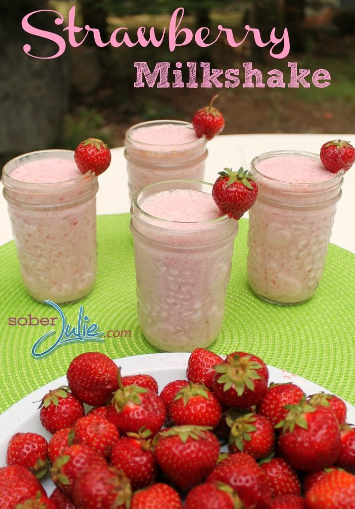 My FAV Easy Strawberry Milkshake Recipe - @SoberJulie.com #Recipe #Milkshake #Dessert