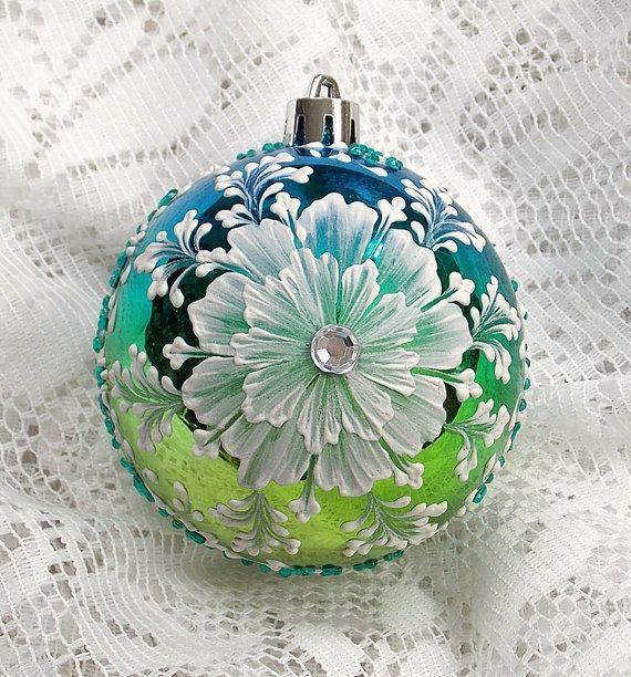 Turquoise/Lime Hand Painted 3D Texture Florals par MargotTheMUDLady, $30.00