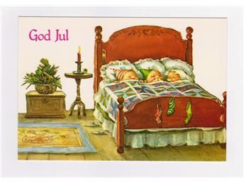 Vykort God Jul - Barn sover i en säng
