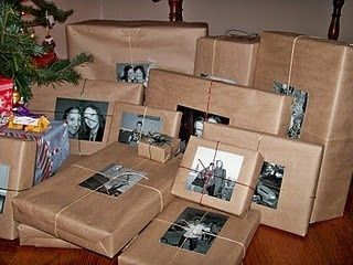 oooh Christmas wrapping idea! :) Pictures instead of gift tags.