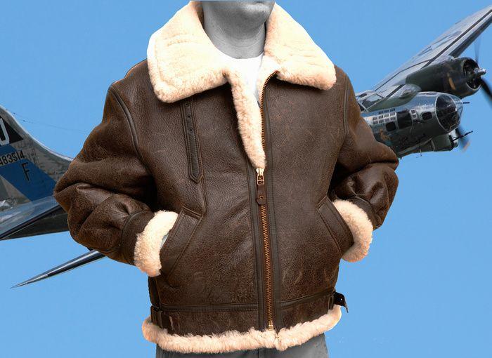 Men's Original B3 Bomber Jacket in 100% Sheepskin The Men's Original® B3 Shearling Bomber Jacket made in the USA of 100% warm Sheepskin. A standard 26 inch body length in 100% sheepskin pelts to crea