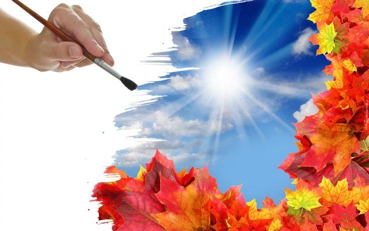 2D, Ręka, Pędzel, Liście, Promienie słońca