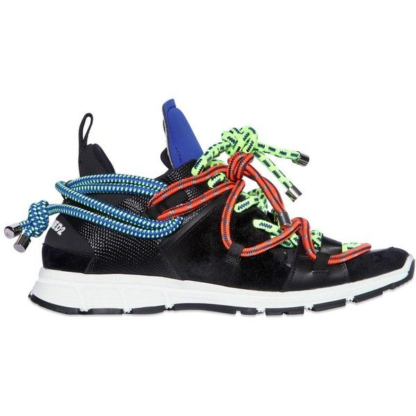 DSQUARED2 Neoprene & Suede Sneakers With Ropes (€900) ❤ liked on Polyvore featuring mens, men's shoes and men's sneakers