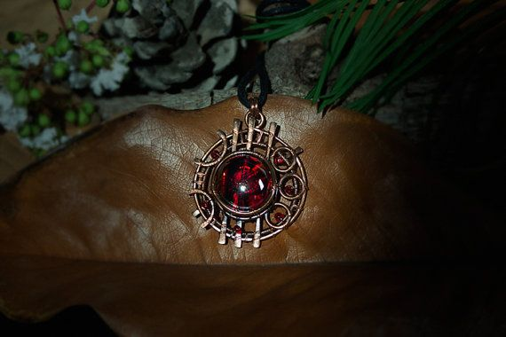 Celestial Sphere #10 copper pendant with red glass and red beads by Calisto Breeze