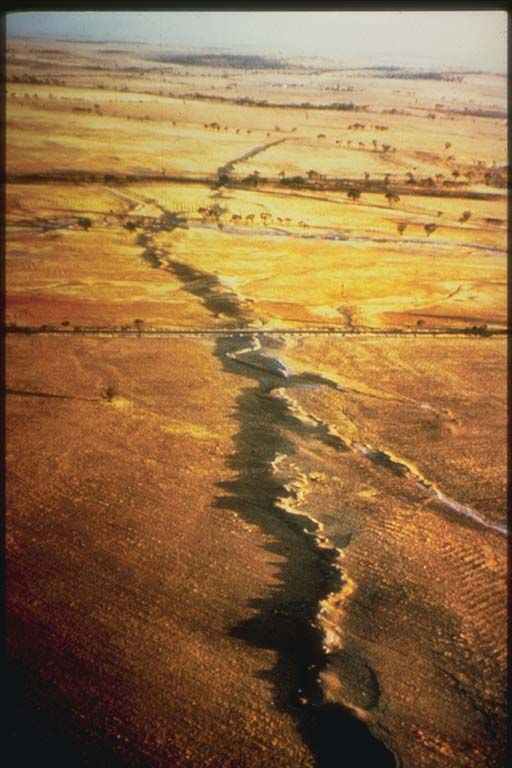 Surface Rupture, Meckering, Australia Earthquake of October 14, 1968, Meckering, Australia. The magnitude 6.8 earthquake caused $2.2 million in property damage. This earthquake was particularly efficient in the generation of surface waves