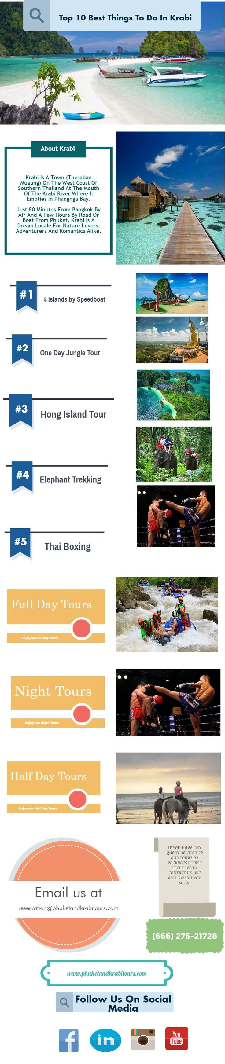 Just 80 Minutes From #Bangkok By Air And A Few Hours By Road Or Boat From #Phuket, #Krabi Is A Dream Locale For Nature Lovers, Adventurers And Romantics Alike. Listed Below Are The Top #KrabiTours.
