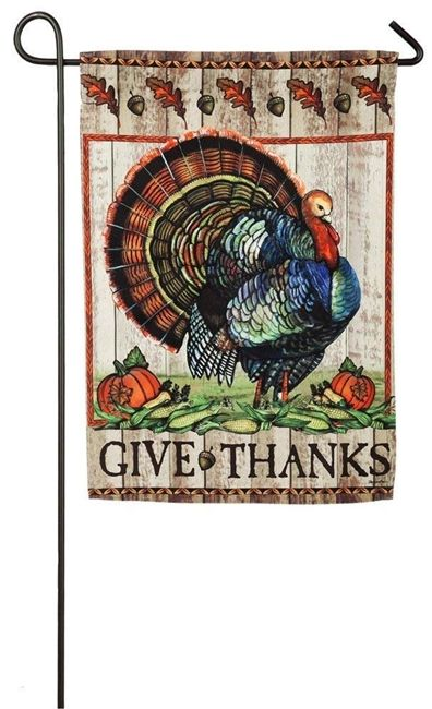 Thanksgiving Give Thanks Turkey Garden Flag 2 Sided Turkey Flag Evergreen Flags House Flags