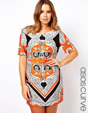 ASOS CURVE Mini Dress In Blocked Scarf Print - love the print of this dress. It's very in fashion because of the mirrored print!
