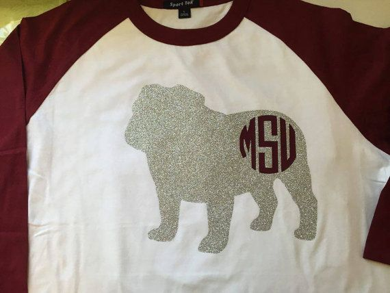 This is a MSU raglan shirt size S-XL. You can either get MSU or your initials on the bulldog. (Glitter or non-glitter is available), just