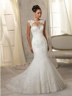 Trumpet/Mermaid Sweetheart Neckline Court Train Tulle Wedding Dress With Lace