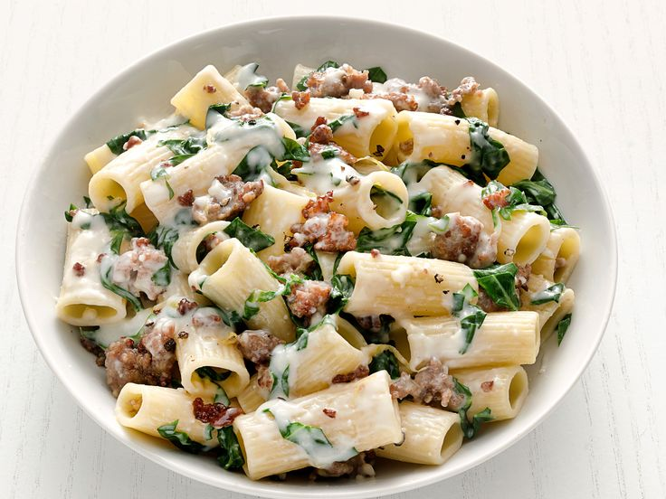 Rigatoni with Swiss Chard and Sausage Recipe : Food Network Kitchen : Food Network - FoodNetwork.com