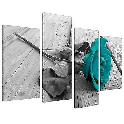 Black White Floral Flower Teal Canvas Wall Art XL 130cm Pictures 4037 in Canvas/ Giclee Prints   eBay