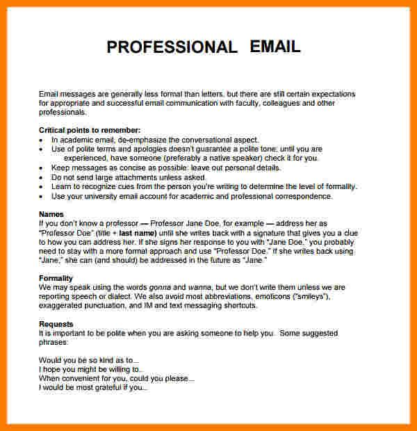 Write Professional Email Resume - Vision professional