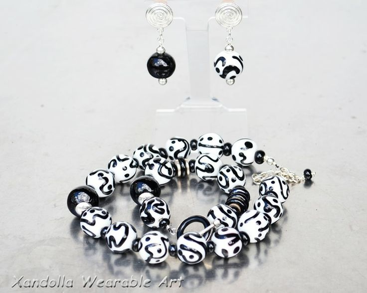 Black and White Baubles series - hollow glass beads - necklace, bracelet and earrings by Su Bishop of Xandolla Wearable Art