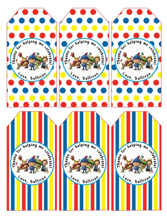 mike the knight party favor tags