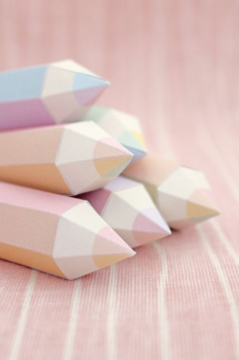 DIY Free Printable Pencil Party Boxes...loving the pretty pastels!