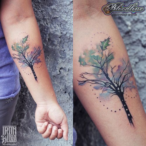 Circles, mix of leaf and branches. Add roots