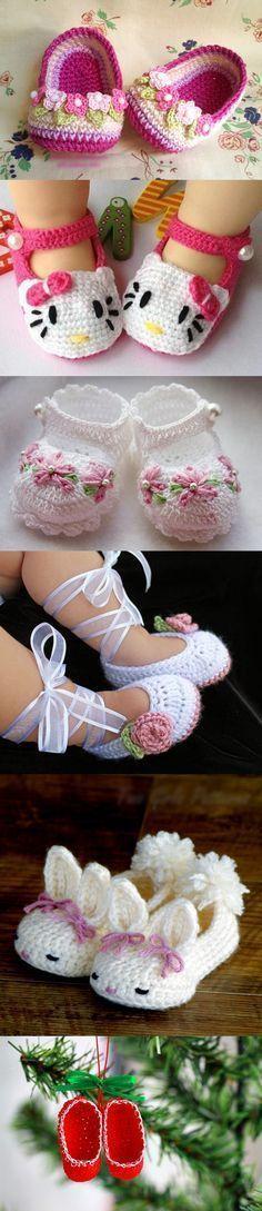 zapatillas de ganchillo bebé M1 maravilloso DIY ganchillo bebé Zapatillas