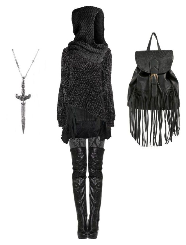"""Aesthetic: Sexy Nazgûl"" by shortcuttothestars ❤ liked on Polyvore featuring Bolongaro Trevor, 21dgrs and Pieces"