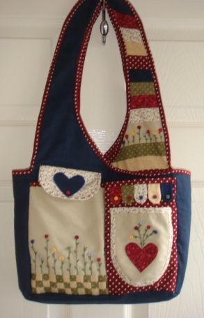The Bobbin Patch :: Kits :: Bag kits :: Pocket garden bag-Navy with Red spots