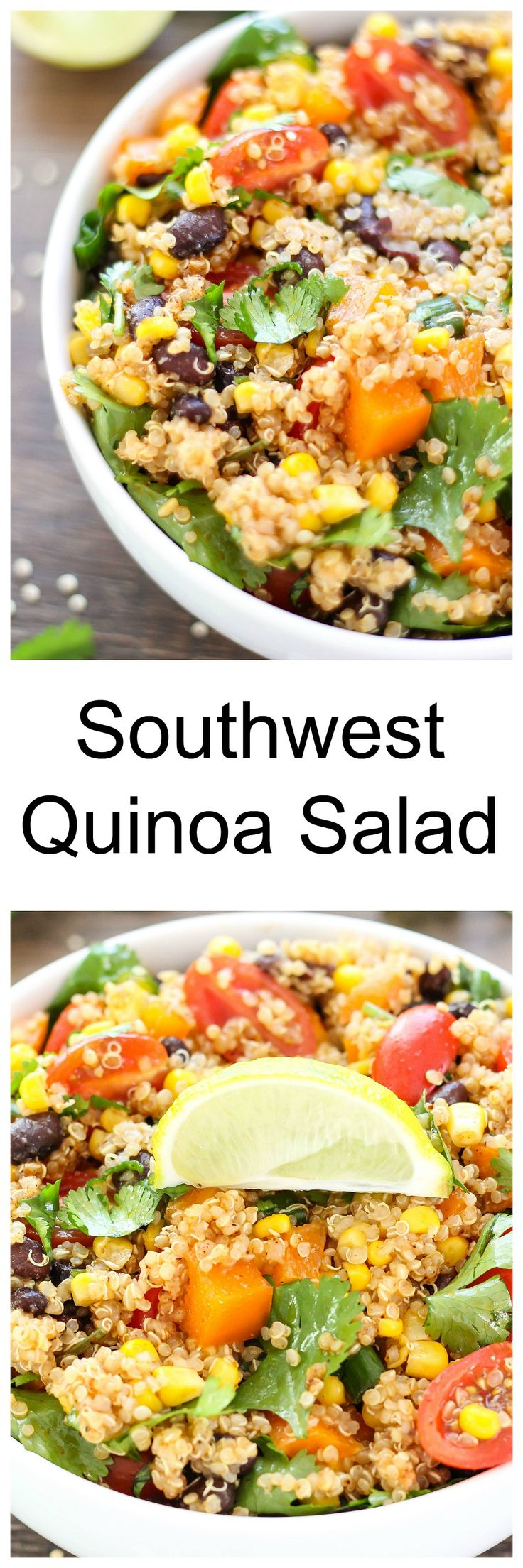 Southwest Quinoa Salad - delicious as a flavorful side dish or hearty main meal.  Made with delicious Southwest seasonings, this chilled salad is amazing!