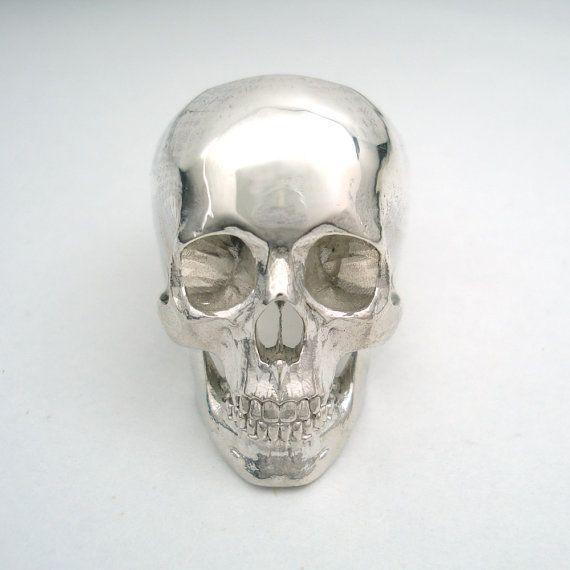 anillo de calavera de acero inoxidable completo por noformdesign