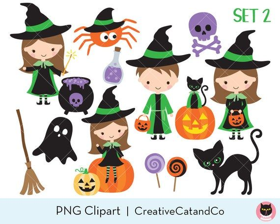 Little Witch Wizard Clip Art Cute Jack O Lanter Black Cat Etsy Clip Art Jack O Lanter Homemade Business