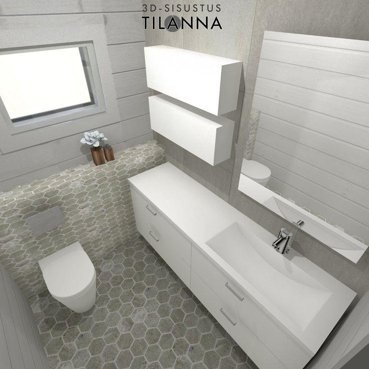 3D-sisustussuunnittelu/ hirsitalon wc:n sisustussuunnittelu, valkovahattu hirsiseinä, vaaleanharmaa kuusikulmainen laatta, seinässä harmaa 60x60 laatta, valkoiset kiintokalusteet/3D-sisustus Tilanna