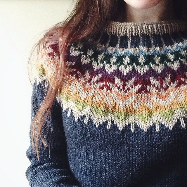 Ravelry: Project Gallery for Afmæli - 20-year anniversary sweater pattern by Védís Jónsdóttir (free download)